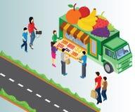 Ilustraciones isométricas de las frutas de compra de la gente formar un camión de la fruta a través del camino stock de ilustración