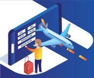 Ilustraciones isométricas de los billetes del hombre de un avión de la reservación en línea con fácil y sin cualquier molestia stock de ilustración