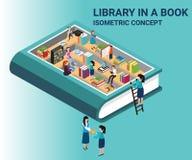 Ilustraciones isométricas de un libro, donde el libro contiene el conocimiento de una biblioteca stock de ilustración