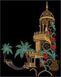 Ilustraciones manuales Digital del vintage del ejemplo y de la planta de la flor de Mughal de la impresión de la materia textil a stock de ilustración