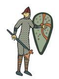 Ilustraciones medievales del estilo del soldado normando ilustración del vector