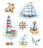 Ilustraciones náuticas de la acuarela Imagen de archivo