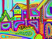 Ilustraciones originales del paisaje rural decorativo con las casas y g libre illustration