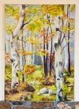Ilustraciones pintadas - bosque de los árboles de abedul en lona imágenes de archivo libres de regalías