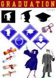 Ilustraciones relacionadas de la graduación Foto de archivo libre de regalías