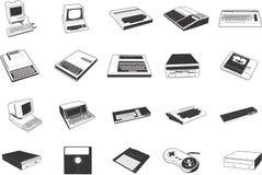 Ilustraciones retras del ordenador ilustración del vector