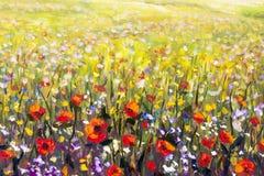 Ilustraciones rojas del amarillo, púrpuras y blancas del campo de flor de las amapolas de las flores de la pintura al óleo, ilustración del vector