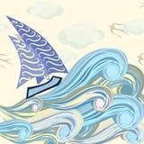 Ilustracja łódź na fala Royalty Ilustracja