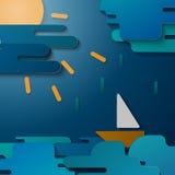Ilustracja łódź przy morzem Obrazy Royalty Free