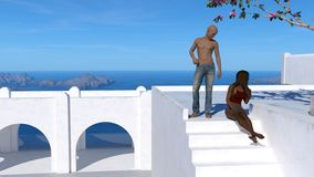 Ilustracja łysy nagi chested mężczyzna jest ubranym spodnia stoi na pokładzie patrzeje puszek przy kobiety obsiadaniem na białych royalty ilustracja