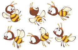 Ilustracja Śliczna Żółta pszczoła tła postać z kreskówki zuchwałych ślicznych psów szczęśliwa głowa odizolowywał uśmiechu biel ilustracji