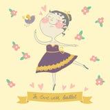 Ilustracja śliczna balerina royalty ilustracja
