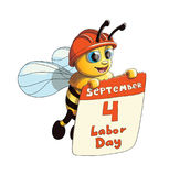 Ilustracja Śliczna pszczoła z święto pracy plakatem Obraz Stock