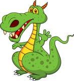 Śliczna zielonego smoka kreskówka Zdjęcia Royalty Free