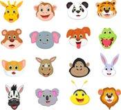 Ilustracja śliczna zwierzęca twarzy kreskówki kolekcja Fotografia Stock