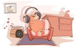 Ilustracja Śliczny kot Audiophile Fotografia Stock