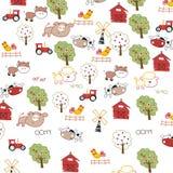 Ilustracja śliczny kreskówki gospodarstwa rolnego tła wektor Zdjęcie Stock