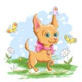 Ilustracja śliczny mały pies z kwiatami ilustracji