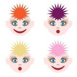 Ilustracja śmieszne twarze Wizerunek barwiony włosy różni kolory i różne emocje ilustracja wektor