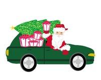 Ilustracja Święty Mikołaj napędowy samochód ilustracja wektor