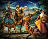 Ilustracja święty rodzinny i trzy królewiątka ilustracja wektor