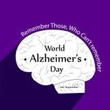 Ilustracja Światowy Alzheimers dnia tło Zdjęcie Stock