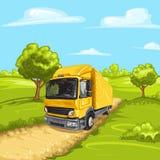 Ilustracja żółta ciężarówka Obrazy Stock