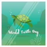 Ilustracja żółw w oceanie dla Światowego żółwia dnia 23rd Maj Royalty Ilustracja