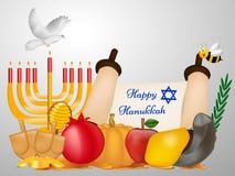 Ilustracja Żydowski wakacyjny Hanukkah tło ilustracji
