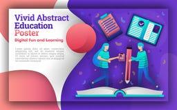 Ilustracja żywi abstrakty z tematem edukacja uczeń który pisał na gigantycznej książce może być dla plakatów i w ilustracja wektor