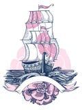 Ilustracja żaglowiec ilustracji