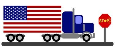 Ilustracja Amerykańska ciężarówka zatrzymująca na Porcelanowych granicach Zdjęcie Royalty Free