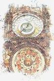 Ilustracja astronomiczny zegar w Praga royalty ilustracja