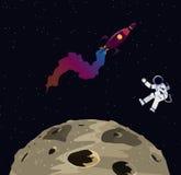 Ilustracja austronaut, księżyc i rakieta w przestrzeni, Zdjęcie Royalty Free