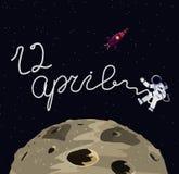 Ilustracja austronaut, księżyc i rakieta w przestrzeni, 12 Kwietnia ilustracja Obraz Stock