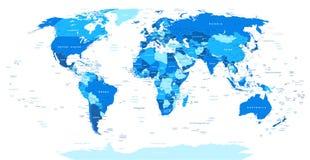 Ilustracja błękitna Światowa mapa granicy, kraje i miasta -, - royalty ilustracja
