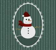 Ilustracja bałwan w czerwonym Santa kapeluszu, szaliku w wzorzystej ramie i Zdjęcia Royalty Free