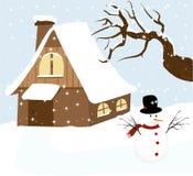 ilustracja bałwan z zima Fotografia Royalty Free