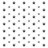 Ilustracja bezszwowy wzór z łapa odciskami stopy psi wilk, plamy i rozmazy na białym tle, ilustracja wektor