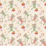 Ilustracja bezszwowy wzór z kolorowymi zabawkami małpuje backg Fotografia Royalty Free