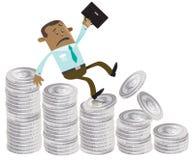 Biznesowy kumpel spada puszek pieniądze wzgórze Obrazy Stock