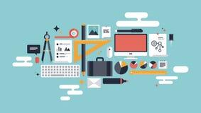 Ilustracja biznesowi pracujący elementy Obrazy Royalty Free