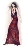 ilustracja brunetki mody sexy Fotografia Stock