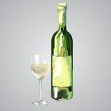 Ilustracja butelka i szkło biały wino Zdjęcie Stock