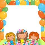 Ilustracja celebransa trzy Urodzinowe dziewczyny Zdjęcie Royalty Free
