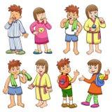 Ilustracja chłopiec i dziewczyny ranku dzienny życie. ilustracja wektor