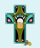 Ilustracja colorfull wielkanocy witraż Obrazy Royalty Free