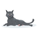 Ilustracja Czarnego kota siedzący puszek Zdjęcia Stock