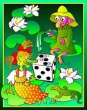 Ilustracja czarownica i karzeł w bagnie bawić się kostka do gry Zdjęcia Royalty Free