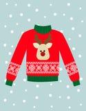 Ilustracja czerwony Bożenarodzeniowy pulower z rogaczem Zdjęcie Stock